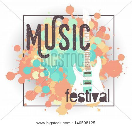 Vector template for a concert poster or a flyer with electric guitar.