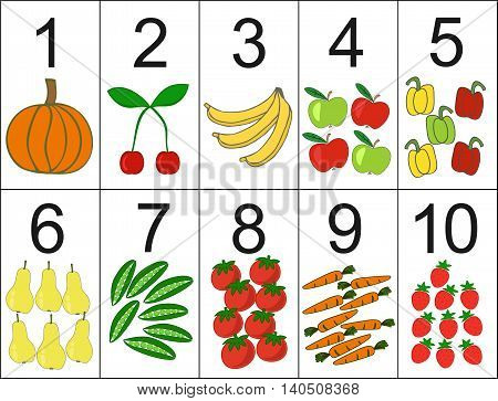 score of one to ten, located next the desired quantity fruit or vegetables. Preschool education.