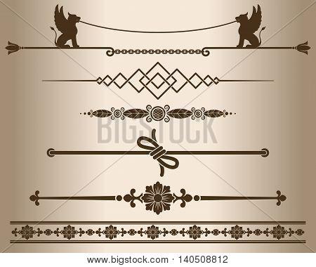 Decorative elements - sphinx. Design elements - decorative line dividers and ornaments. Monochrome graphic element. Vector illustration.