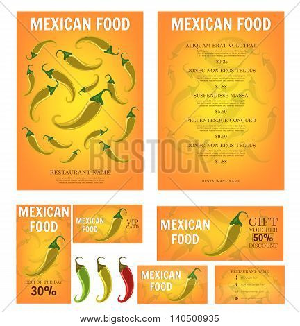 Mexican Food. Mexican restaurant menu template. Yellow Hot Chili Peppers. Business card, flyer, vip card and gift voucher. Vector design.