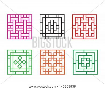Set of Chinese pattern window in square concept vector