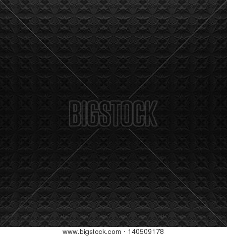 Black abstract pattern backdrop. 3d rendering geometric polygons, as tile wall. Interior room