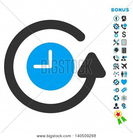 Restore Clock icon with bonus pictograms. Vector style is bicolor flat iconic symbol with rounded angles, blue and gray colors, white background.