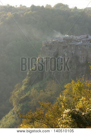 The view of Calcata - a Medieval town in Italy near Rome