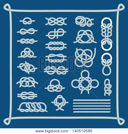 Sea boat knots vector set.