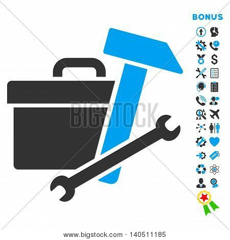 Toolbox icon with bonus pictograms. Vector style is bicolor flat iconic symbol with rounded angles, blue and gray colors, white background.