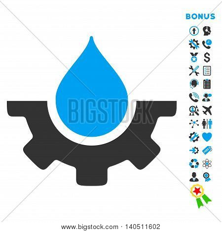 Water Service icon with bonus pictograms. Vector style is bicolor flat iconic symbol with rounded angles, blue and gray colors, white background.