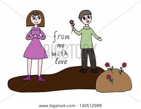 Cartoon man present flowers to woman with text From me with love isolated on the white background