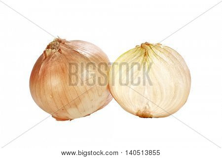 close up shot of onions on white background.