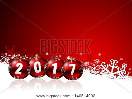 2017 new years illustration with christmas balls and snowflakes on red background