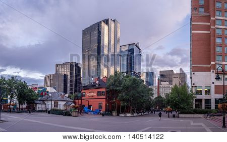CALGARY, CANADA - July 15: Modern office towers on July 15, 2016 in Calgary, Alberta. Calgary is home to many oil companies.