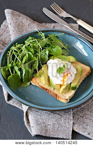 Healthy Vegetarian Breakfast with avocado and poached egg