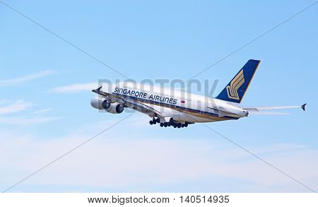 ZURICH - July 30:  A-380 Singapore Airlines taking off at Zurich Airport on July 30, 2016 in Zurich, Switzerland. Zurich airport is home port for Swiss Air and one of the european hubs.