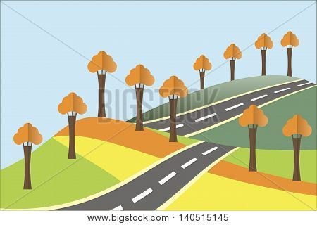 Landscape in the autumn. Yellow and orange hills, a grey asphalt road, blue sky, orange trees. Modern flat design, design element, vector