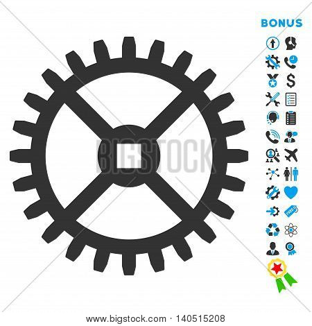 Clock Gear icon with bonus pictograms. Glyph style is bicolor flat iconic symbol with rounded angles, blue and gray colors, white background.