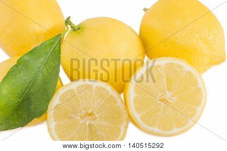 Fresh lemons isolated over white. Healthy food concept. Horizontal.
