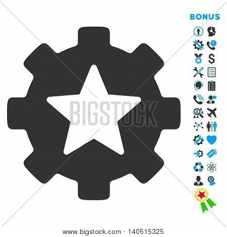 Favorites Options icon with bonus pictograms. Glyph style is bicolor flat iconic symbol with rounded angles, blue and gray colors, white background.