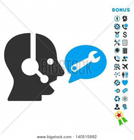 Operator Service Message icon with bonus pictograms. Glyph style is bicolor flat iconic symbol with rounded angles, blue and gray colors, white background.