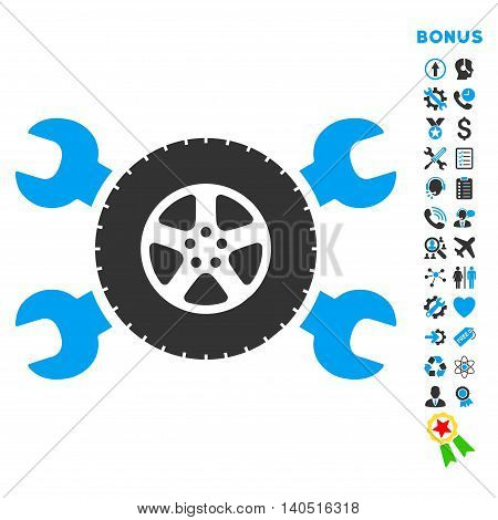 Tire Service icon with bonus pictograms. Glyph style is bicolor flat iconic symbol with rounded angles, blue and gray colors, white background.