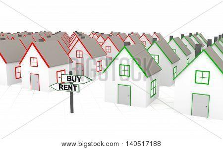 You must choose: buy or rent. 3D rendering.