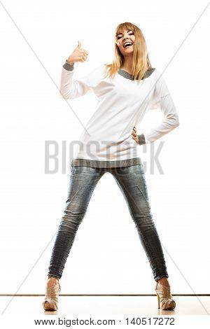 Fashion Woman Making Thumb Up Sign
