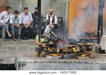 Kathmandu,np Circa August 2012 - Burning Corpse In Pashupatinath Temple Circa August 2012 In Kathman