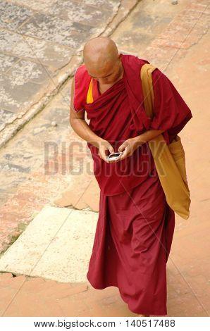 Kathmandu, Circa August 2012 - Buddhist Monk With Smartphone, Circa August 2012 In Kathmandu.