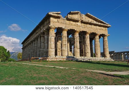 Paestum, It - Circa August 2015 - Ancient Greek Temple Circa August 2015 In Paestum, It. Paestum Con