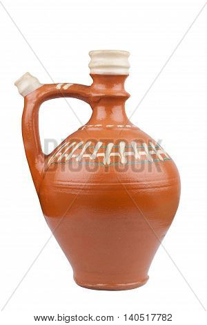 Traditional Romanian clay recipient with handle isolated on white background
