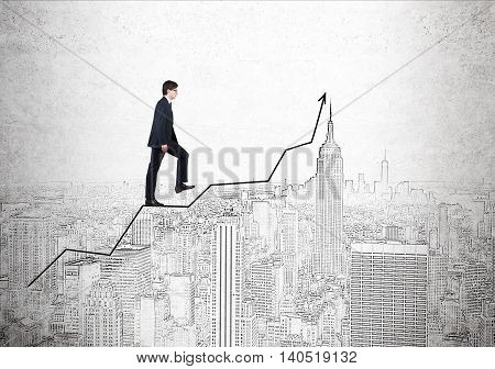 Businessman in suit and glasses going up ascending graph against New York City panorama background pictured on concrete wall. Concept of career growth and business improvement.