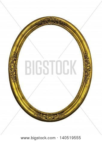 Golden classic ellipse frame isolated on white with clipping path