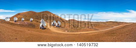Panoramic View Of Astronomical Telescopes On Mauna Kea, Maui