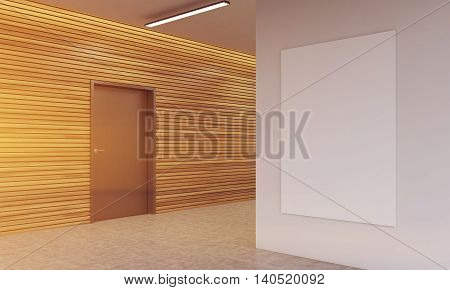 Lobby of modern office with wooden walls brown door white wall and vertical poster. Concept of comfortable working place. 3d rendering. Mock up.