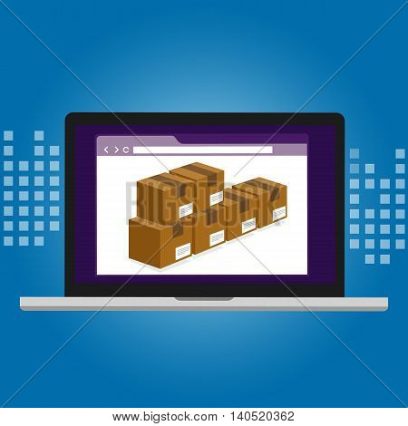 inventory management logistics system warehouse management box inside computer software vector