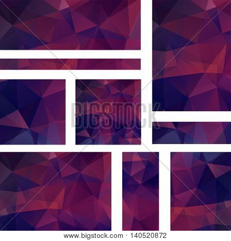 Vector Banners Set With Polygonal Abstract Triangles. Abstract Polygonal Low Poly Banners. Dark Purp