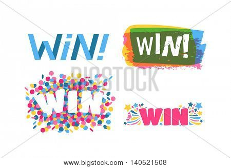 Win text vector illustration