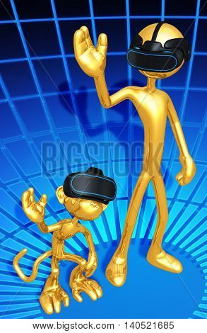 Virtual Reality VR Monkey See Monkey Do 3D Illustration