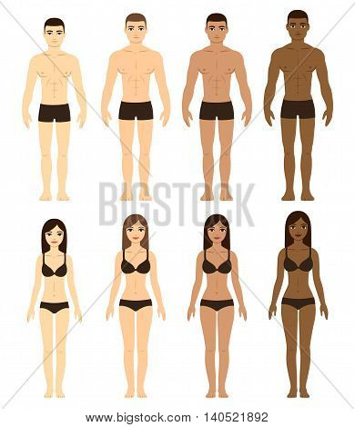 Set of diverse men and women in underwear. Asian Caucasian Brown and Black skin. Race difference illustration. Front facing full body.