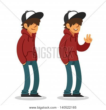 Smiling teenager in hoodie and baseball cap two different poses. Isolated vector illustration.