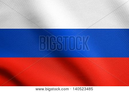 Flag of the Russia waving in the wind with detailed fabric texture. Russian flag.