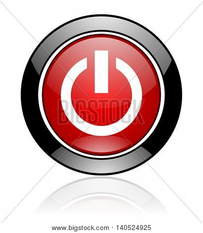 Modern design red and black round glossy power vector icon