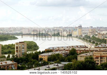 Scenic rooftop view of Omsk city and Irtysh river with skyline