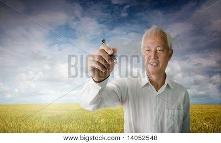 Senior Asian Man Drawing
