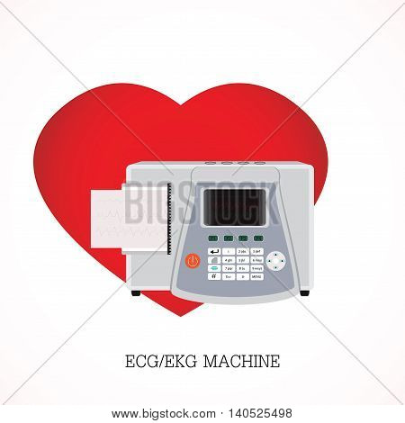 ECG or EKG machine with an integrated printer and print-out and Screen shows three graphs on shaped heart background equipment electronic health care flat design vector illustration.