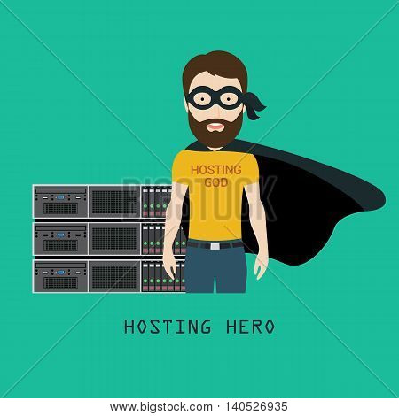 Conceptual Vector Illustration of a Skilled Hosting Admin or Specialist Standing in front of Server Equipment as a Hosting Hero