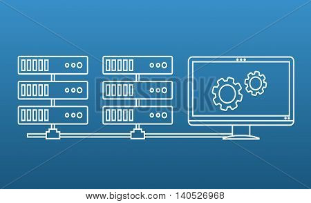 Vector Illustration in Outline Style of a Computer Screen and a Couple of Server Racks