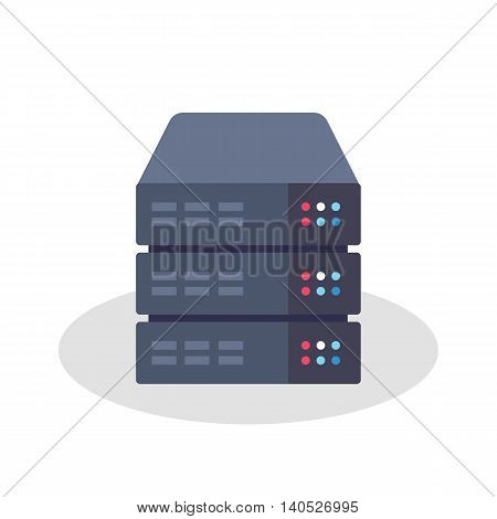 Flat Style Vector Illustration or Icon of a Server Rack