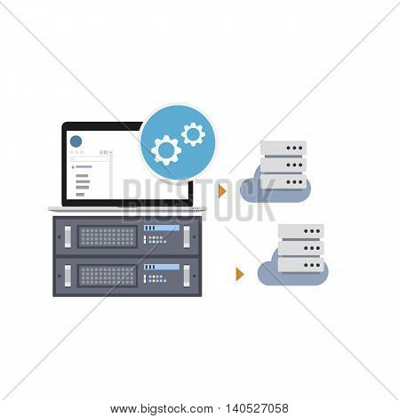 Vector Illustration of a Software Solution which Allows Users to Create Virtual Private Servers out of Dedicated Server