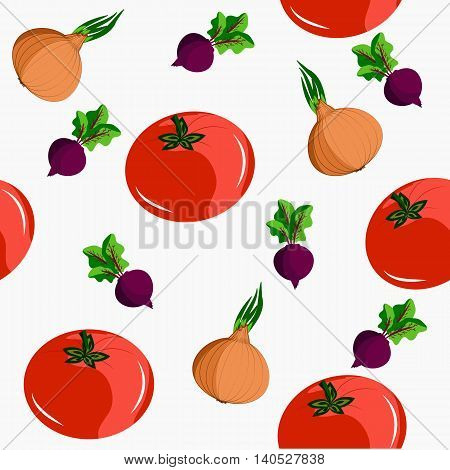 Seamless with vegetables: tomatoes beets and onions. It can be used for decoration kitchen accessories tablecloths fabrics cutting boards or other