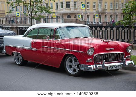 SAINT PETERSBURG, RUSSIA - JUNE 18, 2016: American full-size Chevrolet Bel Air 1955 year close-up on the streets of St. Petersburg